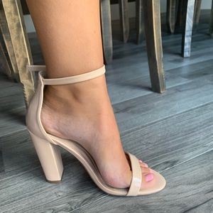 Missguided Shoes - Missguided Nude Ankle Strap Heels Size 9